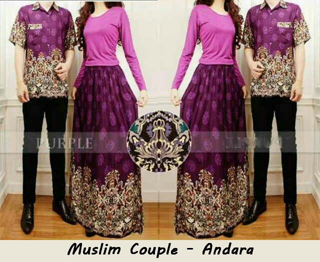 Muslim Couple Andra Bahan Katun Print Spandek